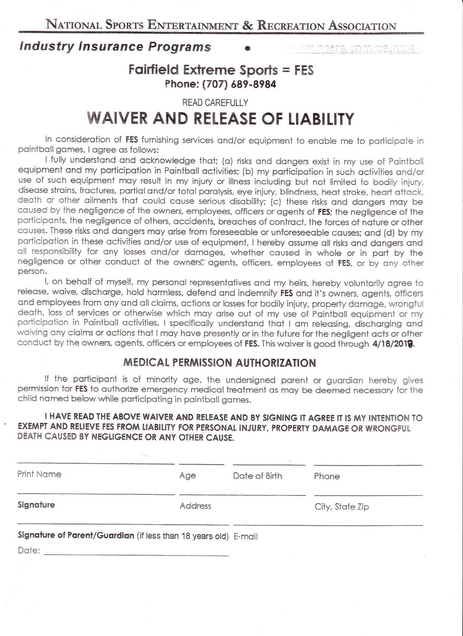 Fairfield Extreme Sports Safety Waiver